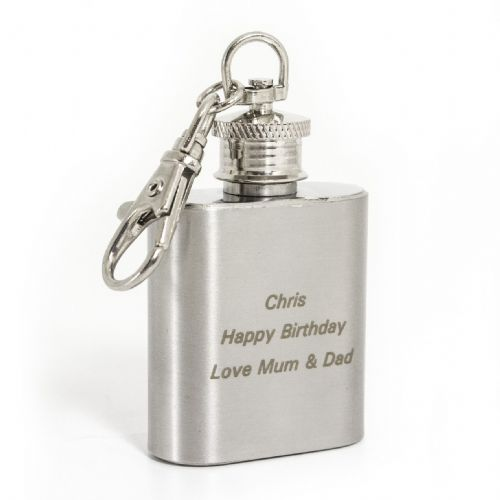 Personalised Stainless Steel 1oz Hip Flask Keyring